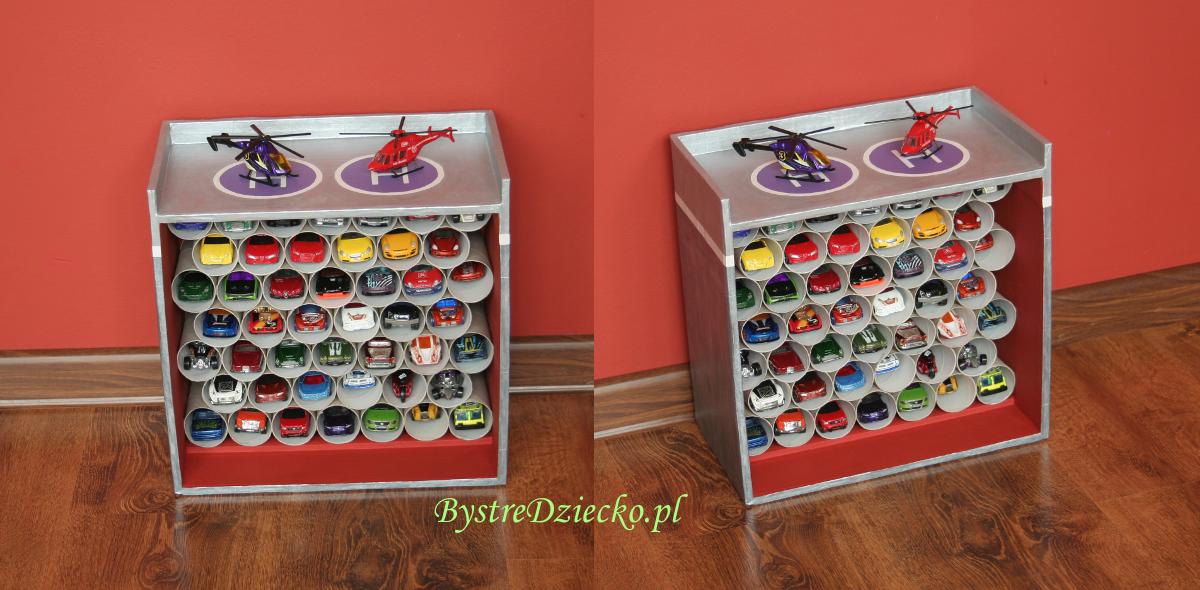 DIY garaż z kartonu i rolek po papierze toaletowym - ekologiczne zabawki z kartonu dla dzieci